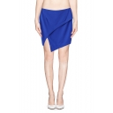 Solid Zip Back Layered Skirt with Asymmetric Hem