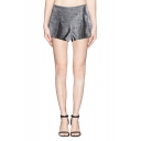 Heathered Seam Detail Pleated Front Zip Side Tailored Shorts