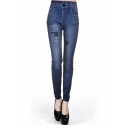 High Rise Embellished Denim-look Ankle Leggings with Faux Pocket