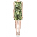 Green Leaf Print Keyhole Back Sleeveless Romper with Pockets