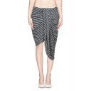 Asymmetric Wrap Skirt in Black and White Stripe