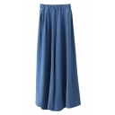 Elasticated Waist Wide Leg Solid Casual Draped Pants