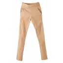 Solid Elastic Waist Skinny Pants with Pockets
