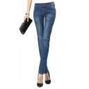 Stitch Detail Mid Rise Zip Fly Skinny Jeans