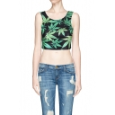 Scoop Neck Sleeveless Crop Top in Foliage Print
