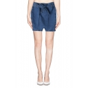 Tie Waist Zip Back Denim Skirt with Contrast Stitching