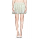 Lace Detail Sheer Hem A-line Mini Skirt