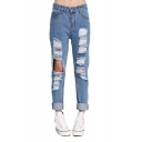 Straight Leg Zip Fly Distressed Jeans with Pockets