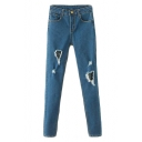 New Style Busted Raw Detail Pencil Slim Jeans