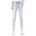 Mid Rise Drawstring Waist Seam Detail Skinny Jeans