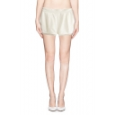 Organza Paneled Zip Back Fold Front Solid Shorts
