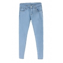 Plain Casual Jeans with Side Pockets and Zipper Fly
