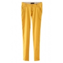 Double Button Front Skinny Pants with Zipper and Pockets
