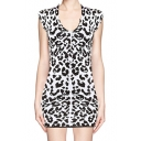 Fashionable Leopard Print Bodycon Dress with Short Sleeve
