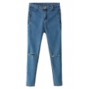 Blue Four Buttons Front Zip Fly Jeans with Busted Kne