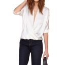 White Wrap Front 1/2 Sleeve Dip Hem Blouse