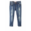 Blue Zip Fly Ripped Crop Jeans with Ankle-cuff