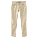 Plain Low Rise Zip Fly Pants in Cotton