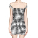 Boat Neck Short Sleeve Mini Dress in Houndstooth Print