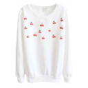 Cherry Print Long Sleeve Round Neck Sweatshirt in Cotton