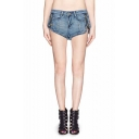 Light Wash Dolphin Hem Denim Shorts with Metallic Zip Detail