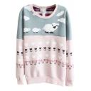Color Block Sheep Pattern Long Sleeve Sweatshirt