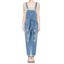 Light Wash Ripped Denim Overall with Pocket Front