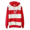 Cozy Stripe Print Long Sleeve Hoodie in Cotton