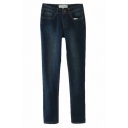 Dark Wash Straight Leg Jeans in Mid Rise