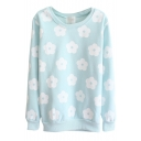 Mono Floral Print Long Sleeve Round Neck Sweatshirt