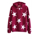 New Style Cozy Star Print Long Sleeve Hoodie