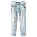 Zipper-fly Loose Crop Jeans with Ripped Detail and Pockets