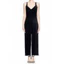 Simple Elastic Waist Halter Jumpsuit in Modal