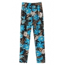 Floral Print High Waist Cuffed Hem Pants