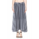 One Button Zip-zag Print Chiffon Skirt with Asymmetric Hem