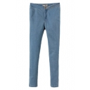 Plain High Rise Zipper-fly Stretch Denim Jeans