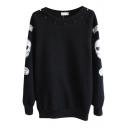 Beaded Round Neck Sweatshirt with Skull Print Sleeve