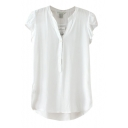 Plain Flutter Sleeve Button Front Dip Hem Top