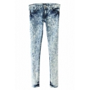 Skinny Bleached Jeans with Zipper and Pocket