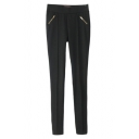 Plain Sideling Zipper Detail Skinny Pants in Mid Rise
