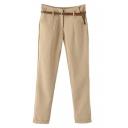 Plain Zipper-fly Cuffed Hem Skinny Trousers with Belt