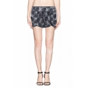 Black High Waist Lace Shorts with White Chiffon Insert