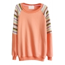 Simple Round Neck Sweatshirt with Knitted Raglan Sleeve