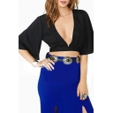 Plunging V-neck Open Back Kimono Sleeve Crop Top