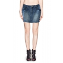 Mid Wash Mini Denim Skirt with Pocket and Zipper