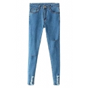 Zipper-fly Ripped Hem Skinny Jeans with Pockets