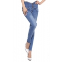 Solid High Waist Skinny Jeans with Whiskering
