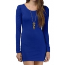 Eyes-catching Long Sleeve Skinny Dress with Cutout Back