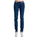 Elastic Drawstring Harem Jeans with Roll Up Cuff
