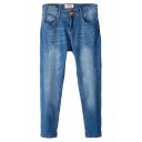 Blue Zip Fly Pocket Front Bleached Crop Jeans
